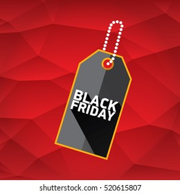 vector Black Friday sales tag or label on red geometric background. Black Friday red sale poster or background