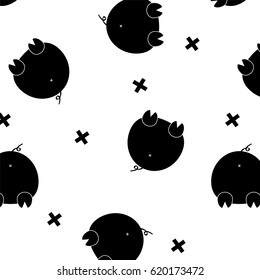 Vector black funny pig. Glamour monochrome fashion piggy. Domestic animal pattern. Simple pet decoration. Funny contemporary kids wallpaper. Modern design