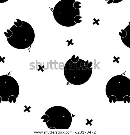 Vector Black Funny Pig Glamour Monochrome Vector De Stock