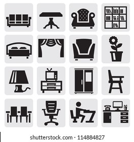 vector black furniture and home icons set