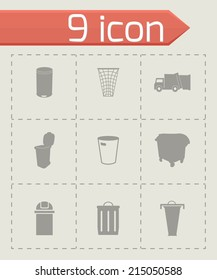 Vector black garbage icons set on grey background