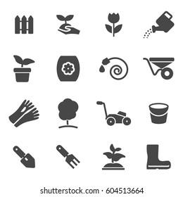 Vector black gardening icons set on white background