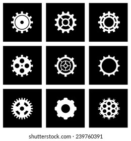 Vector black gear icon set on black background.