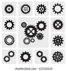 vector black gearwheel mechanism icon set on gray