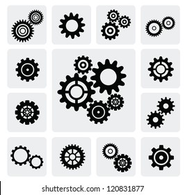 vector black gearwheel mechanism icon set on gray