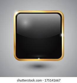 Vector black glass square button with round corners and golden frame