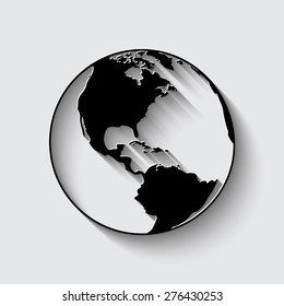 Vector black globe icons set   on a grey background