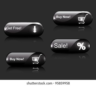 Vector black glossy buttons: sale, buy, download.