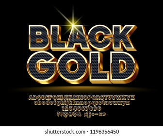 Vector Black Gold Alphabet Letters, Numbers and Symbols. 3D Elegant Font.