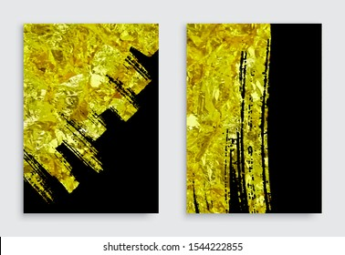 Vector black and gold design template for brochure, flyer, banner. Abstract modern background.