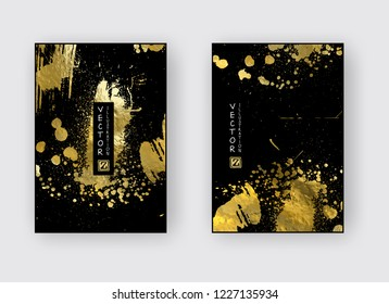 Vector Black and Gold Design Templates set for Brochures, Flyers, Mobile Technologies, Applications, Online Services, Typographic Emblems, Logo, Banners. Golden Abstract Modern Backgro