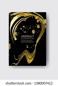 Vector Black and Gold Design Templates for Brochures, Flyers, Mobile Technologies, Applications, Online Services, Typographic Emblems, Logo, Banners. Golden Abstract Modern Backgro