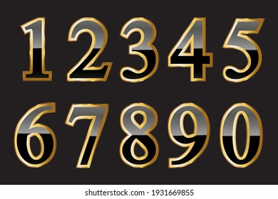Vector black and gold numbers set.