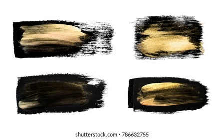 Vector black and gold paint smear stroke stain set. Abstract gold glittering textured art illustration. Brush stroke isolated on white. Hand painted backdrop for greeting, gift, wedding, birthday card
