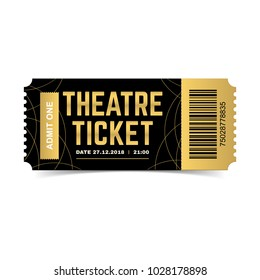 Vector black and gold theatre ticket isolated on white background. Luxury design template. Icon picture for website.