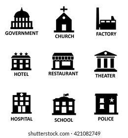 Vector black government building icons set on white bacground.