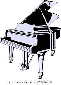vector black grand piano isolated