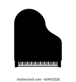 Vector black grand piano top view on white background