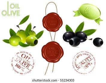 Vector black and green olives. Sealing wax 100% oil olive.