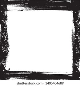 Vector - Black grungy ink frame on white background