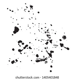 Vector - Black grungy ink splotches on white background