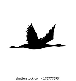 Vector black hand drawn flying crane bird silhouette isolated on white background
