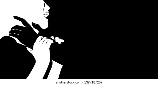 vector of black hand from shadow act to strangle woman neck, with copy space. man use force to assault woman. stop domestic violence against women campaign.