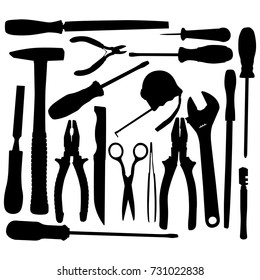 Vector Black Hand Tool Pictograms