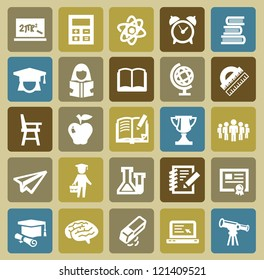 vector black higher education icons set on color
