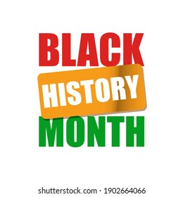 Vector black history month banner or label isolated on white background.