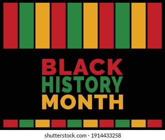 Vector of Black History Month Layout with Colorful strips for Americans.