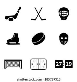 Vector black hockey icons set on white background
