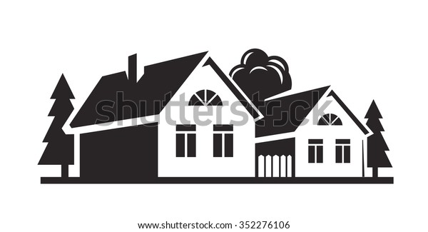 47c4875216c0 Vector Black House Icon On White Stock Vector (Royalty Free) 352276106