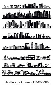 vector black houses and city icons set on white