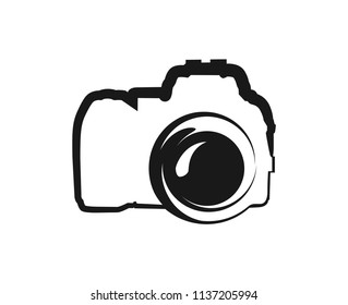 Vector black Icon of Camera isolated on white background. Illustration for Logo or Decoration of Web Site of Photo Studio.