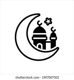 Vector black icon for eid ul fitr