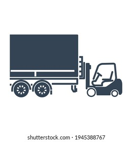 Vector black icon freight road land transport, forklift truck loading pallet into a truck