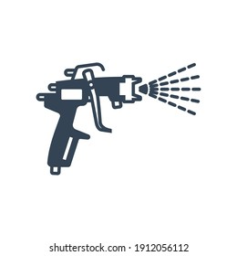 Vector black icon paint spray gun, airbrush, car repair service