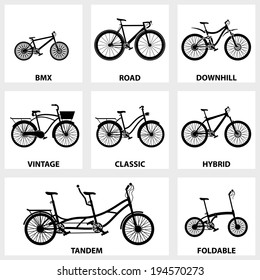 Vector black icon set bike on white background