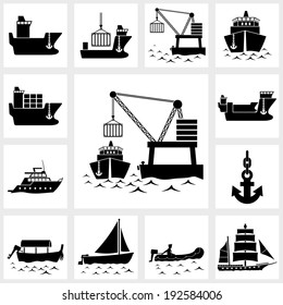 Vector black icon set ship and boat