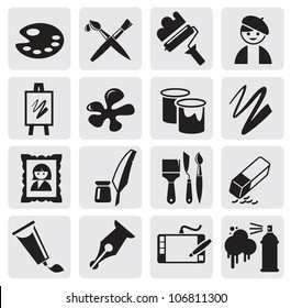 vector black Icons set arts