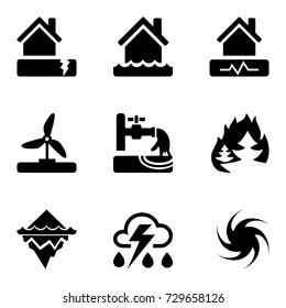 Vector black icons set with risks and dangers from natural disasters, which are taken into account in the insurance of housing