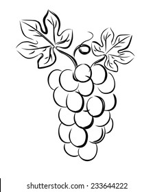 vector black illustration of grapes on white