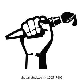 vector black illustration of hand holding brush
