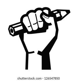 vector black illustration of hand holding pencil