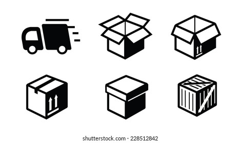 vector black illustration of shipping icon on white