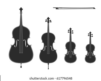 Vector black illustrations collection on white background. Violin, viola, cello, contrabass, bow. Elements for design for musical theme. Black, white colors.