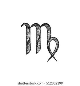 vector black ink hand drawn dotwork tattoo style vintage design Virgo zodiac sign retro illustration isolated white background