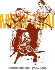 the vector black ink illustration of the Muay Thai fighter