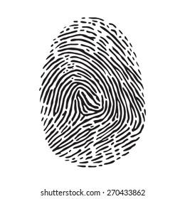 Vector black isolated fingerprint on white background